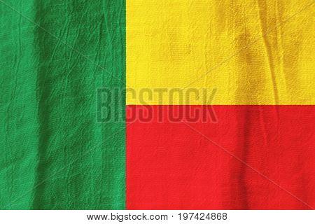 Benin Fabric Flag  National Flag From Fabric For Graphic Design.