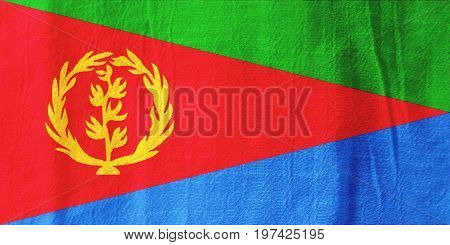 Eritrea Fabric Flag  National Flag From Fabric For Graphic Design.