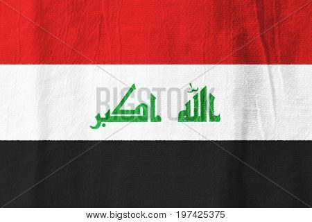Iraq Fabric Flag  National Flag From Fabric For Graphic Design.