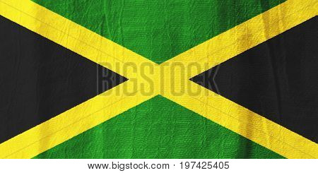 Jamaica Fabric Flag  National Flag From Fabric For Graphic Design.