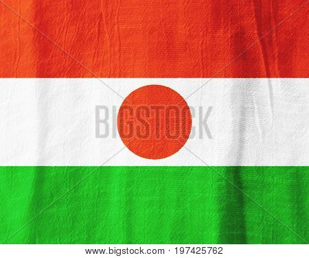 Niger Fabric Flag  National Flag From Fabric For Graphic Design.
