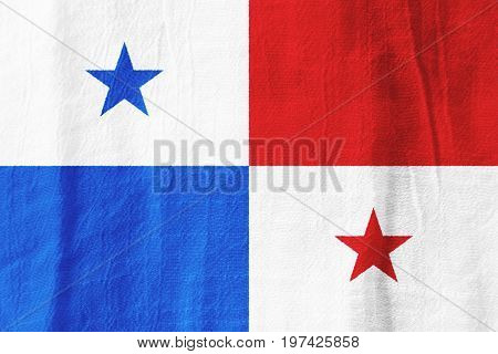 Panama Fabric Flag  National Flag From Fabric For Graphic Design.