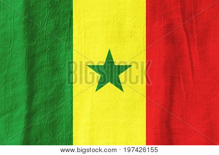 Senegal Fabric Flag  National Flag From Fabric For Graphic Design.
