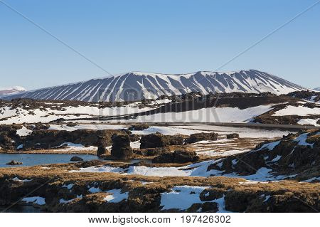 Icland winter seasion Myvatn volcano natural landscape background