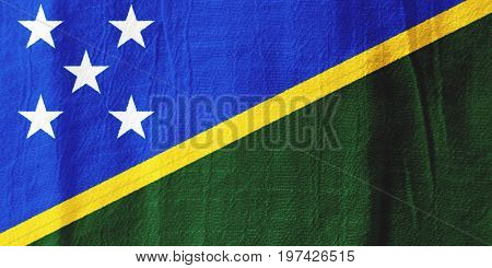 The Solomon Islands Fabric Flag  National Flag From Fabric For Graphic Design.