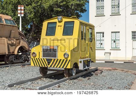 WINDHOEK NAMIBIA - JUNE 17 2017: A rail track inspection car on display at the museum at the railway station in Windhoek