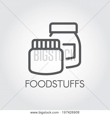 Kitchen boxes for various products and ingredients. Conceptual icon in linear style. Foodstuffs contour label. Vector illustration