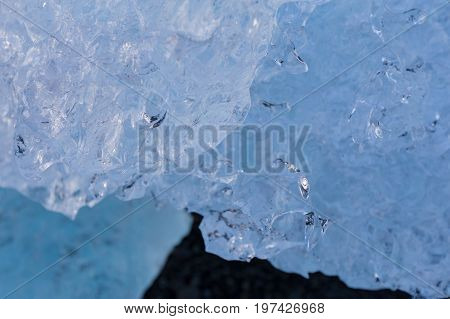 Close up Ice shape on glacier winter seasion background and texture
