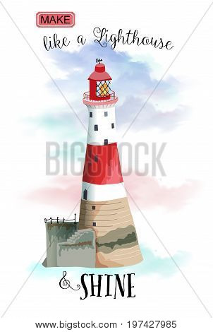 Lighthouse Landmark - Red and white lighthouse against the blue sky, with inspirational quote