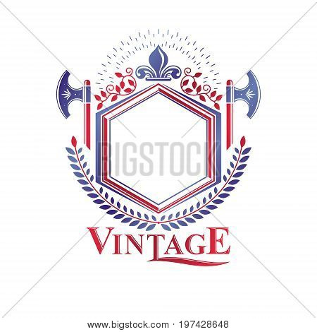 Graphic winged emblem composed with royal symbol Lily Flower and sharp hatchets. Heraldic vector design element. Retro style label heraldry logo.