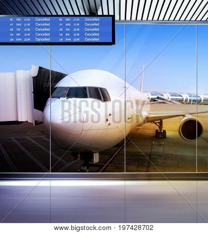 big passenger airplane stays at airport
