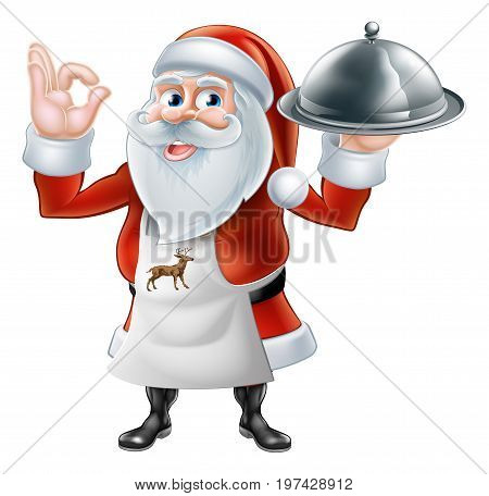 An illustration if a happy Cartoon Santa Claus chef or cook character in an apron holding a plate of food