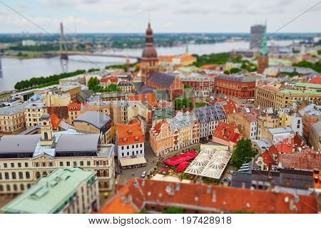 Panorama Of Riga With Tilt Shift Lens