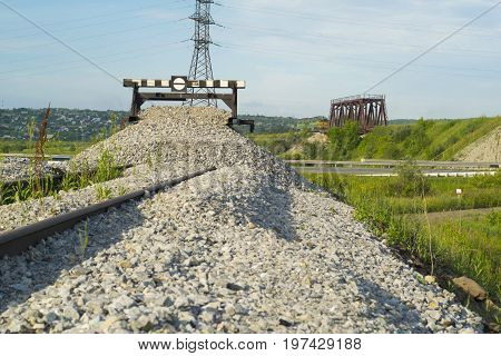 Railway impasse, landscape, railway bridge and high-voltage lines