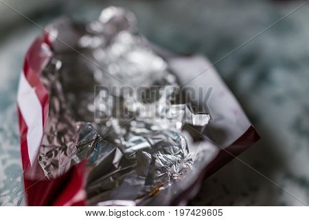 Empty Chocolate Aluminum Wrapper Foil With Red Paper