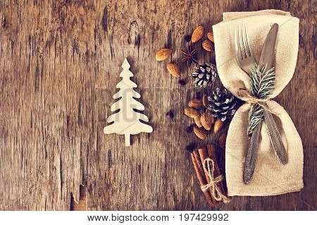 Table Set With A Winter, Christmas Decoration