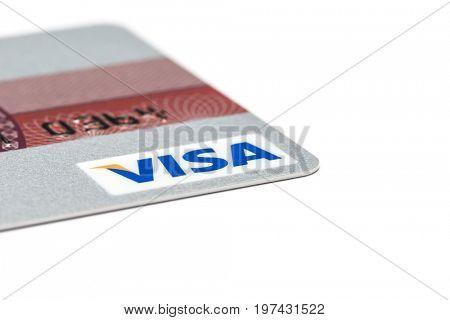 Ostersund, Sweden- July 29, 2017: Visa logo on a credit card. Visa is one of the biggest credit card companies.