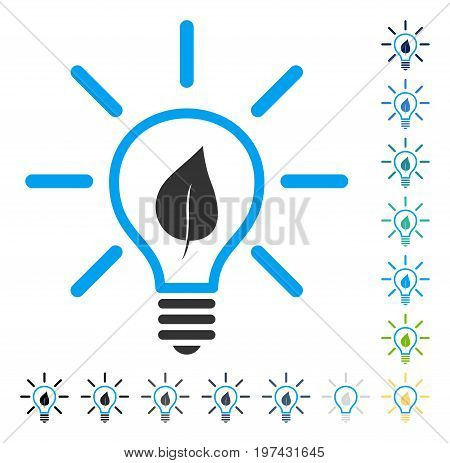 Eco Light Bulb icon. Vector illustration style is flat iconic symbol in some color versions.