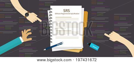 SRS Software Requirements Specification computer information technology IT vector