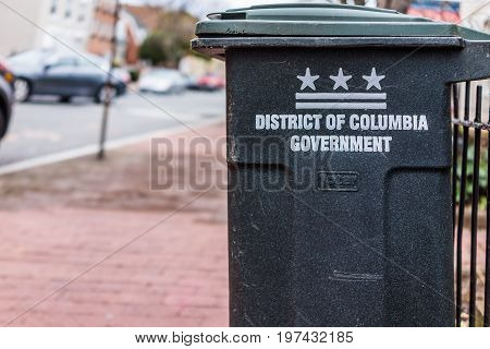 Washington Dc, Usa - March 20, 2017: District Of Columbia Government Sign On Trash Can On Street