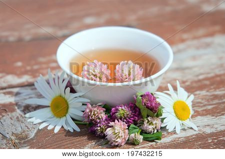 Herbs tea from curative plants on wooden surface. Herbal Medicine.