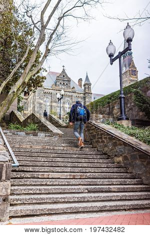 Washington Dc, Usa - March 20, 2017: Steps To Historic Old Georgetown University On Campus With Stud