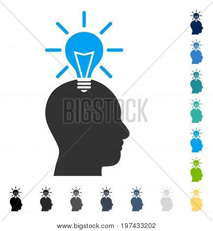 Genius Bulb icon. Vector illustration style is flat iconic symbol in some color versions.