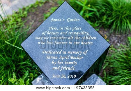 Harrisburg, Usa - May 24, 2017: Janna's Garden Sign In Pennsylvania Capital City In Italian Lake Par
