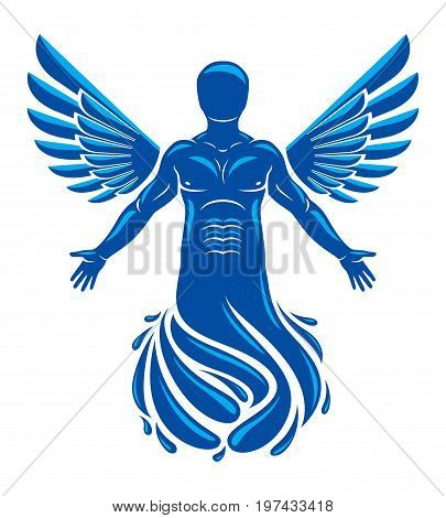Vector illustration of human being deriving from water and composed with bird wings. Human and nature coexistence freedom and liberty idea.
