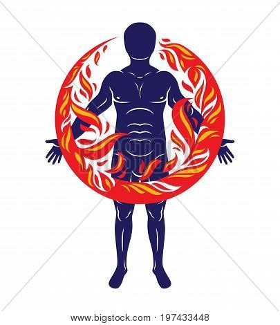 Vector illustration of athletic man human and nature harmony fire man covered with a fireball.