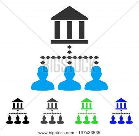 Bank Building Client Links flat vector illustration. Colored bank building client links gray black blue green pictogram variants. Flat icon style for web design.
