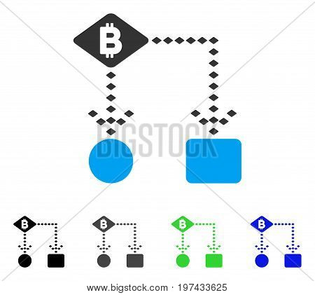 Bitcoin Algorithm Scheme flat vector icon. Colored bitcoin algorithm scheme gray black blue green pictogram versions. Flat icon style for graphic design.