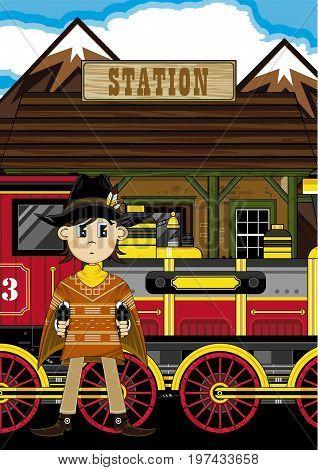 Poncho Cowboy At Station
