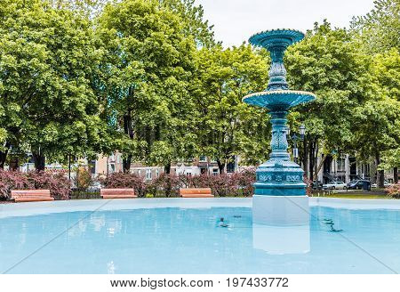 Montreal, Canada - May 26, 2017: Out Of Order Fountain In Saint Louis Square Park In Montreal's Plat