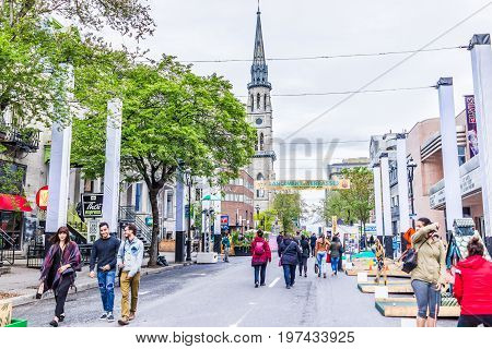 Montreal, Canada - May 26, 2017: People Walking On Saint Denis Street In Montreal's Plateau Mont Roy