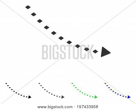 Dotted Decline Trend flat vector icon. Colored dotted decline trend gray black blue green icon versions. Flat icon style for web design.
