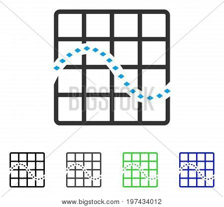 Dotted Function Chart flat vector pictograph. Colored dotted function chart gray black blue green pictogram versions. Flat icon style for graphic design.