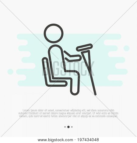 Sign of priority seat for disabled people. Thin line vector illustration.