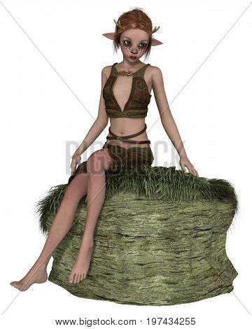 Fantasy illustration of a cute shy forest elf or faun with pointed ears, antlers and deer makeup, sitting on a grassy rock, digital illustration (3d rendering)