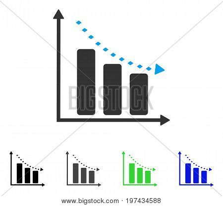 Dotted Negative Trend flat vector pictogram. Colored dotted negative trend gray black blue green pictogram variants. Flat icon style for application design.