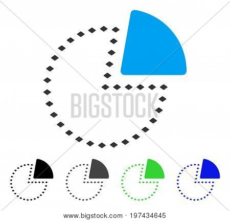 Dotted Pie Chart flat vector illustration. Colored dotted pie chart gray black blue green pictogram variants. Flat icon style for graphic design.
