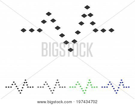 Dotted Pulse flat vector pictograph. Colored dotted pulse gray black blue green pictogram versions. Flat icon style for web design.