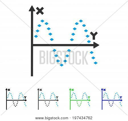 Dotted Sine Plot flat vector illustration. Colored dotted sine plot gray black blue green icon versions. Flat icon style for graphic design.
