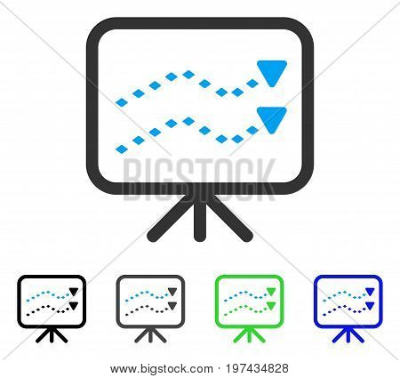 Dotted Trends Board flat vector pictogram. Colored dotted trends board gray black blue green pictogram versions. Flat icon style for graphic design.
