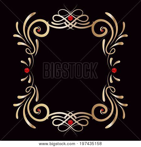 Frame gold gem, diamond vector shiny, decorate, floral, decorative, light, style, rococo, isolated, bright, ornament, classic, royal, celebration, glitter, glow, round, gift, sparkle, curl