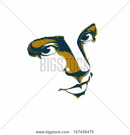 Artistic silhouette of melancholic attractive lady face features. Hand-drawn vector illustration of woman visage outline. Emotions theme illustration. Attractive model.