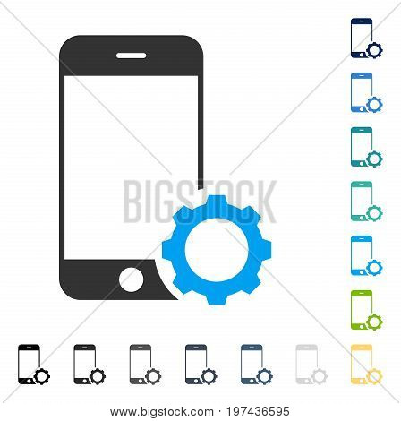Smartphone Setup Gear icon. Vector illustration style is flat iconic symbol in some color versions.
