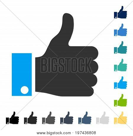 Thumb Up icon. Vector illustration style is flat iconic symbol in some color versions.