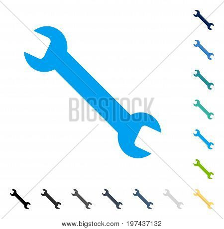 Wrench icon. Vector illustration style is flat iconic symbol in some color versions.