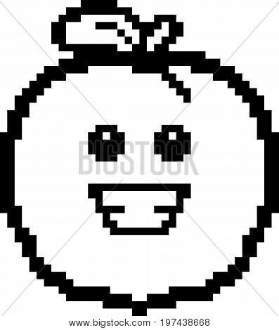 Smiling 8-bit Cartoon Peach